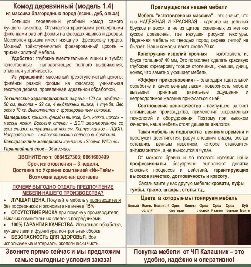 Описание комода 1-4