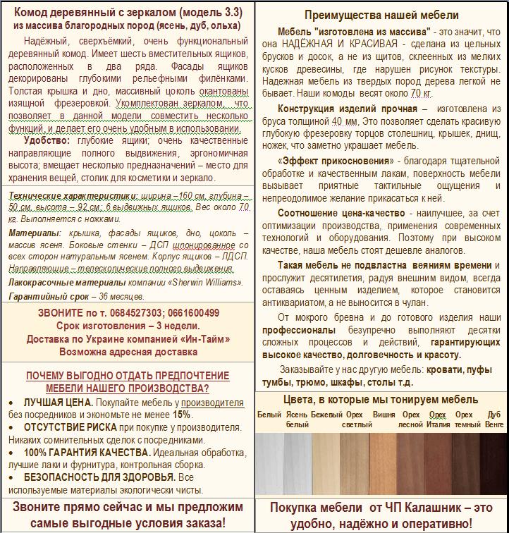 Описание комода с зеркалом 3-3