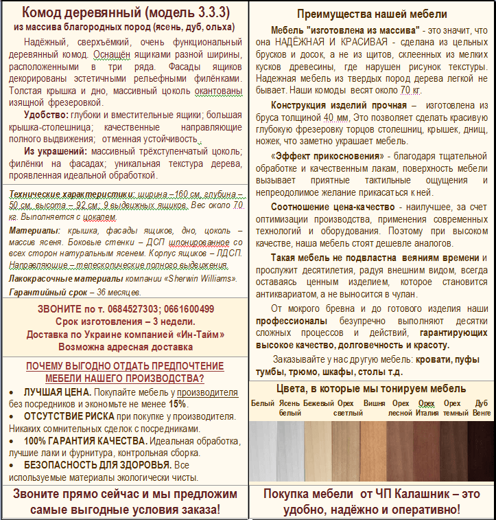 Описание комода 3-3-3