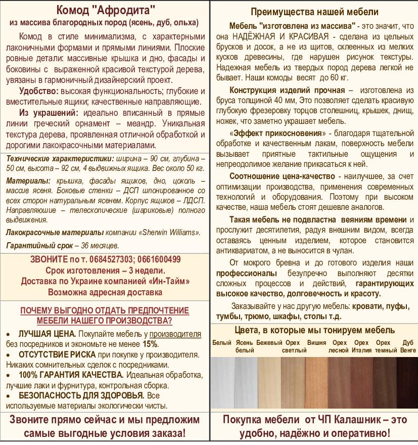 Описание комода Афродита-2