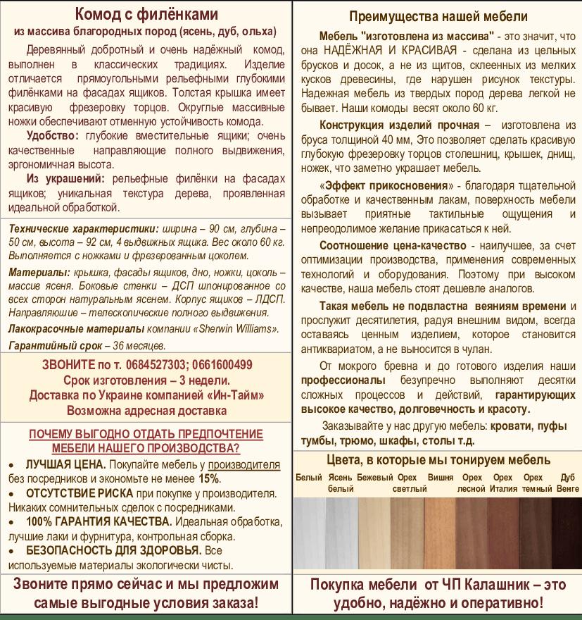 Описание комода с филенками-2