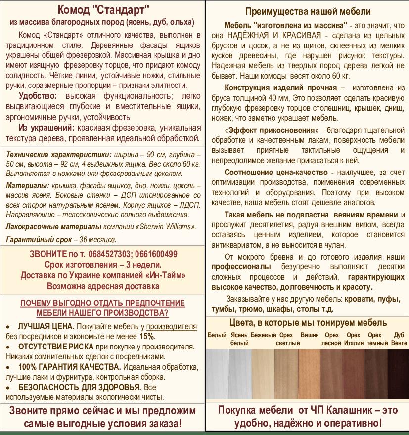 Описание комода Стандарт-1