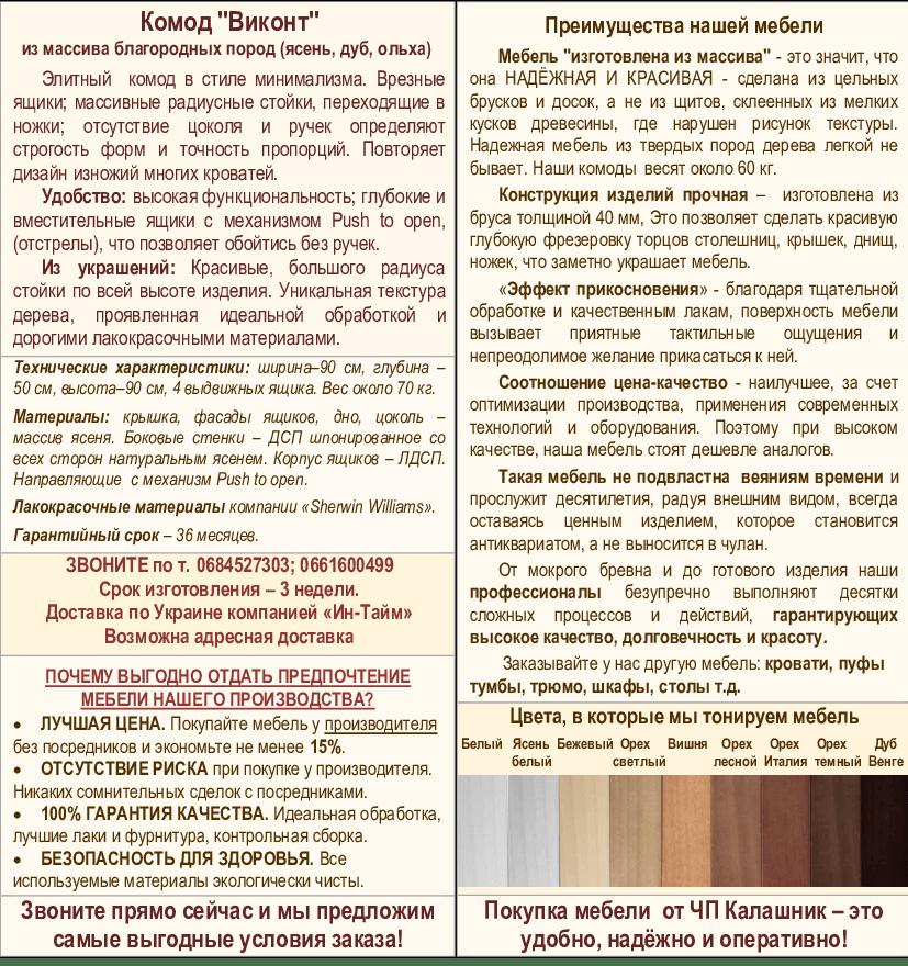 Описание комода Виконт-1