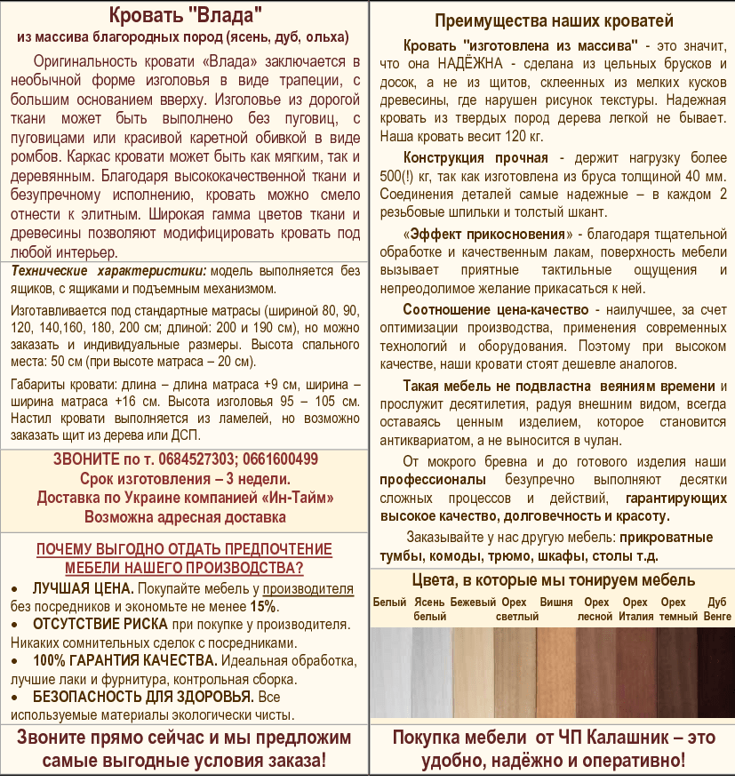 Описание деревянной кровати Влада