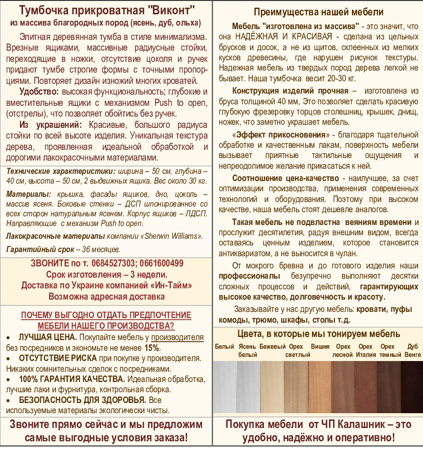 Описание прикроватной тумбочки Виконт