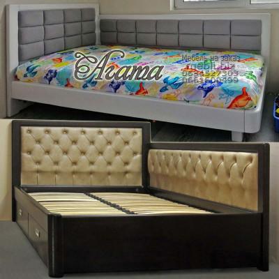 Угловая мягкая кровать Агата