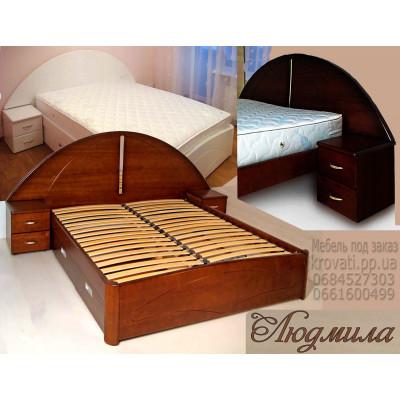 Деревянная кровать с ящиками Людмила